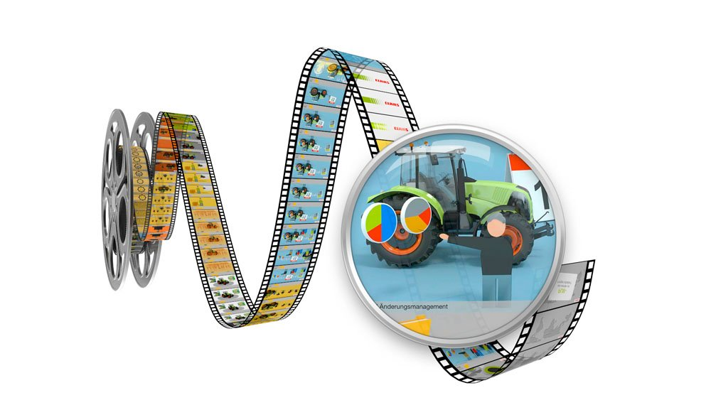 Eine 3D Filmrolle zeigt Bilder aus dem Claas Clip
