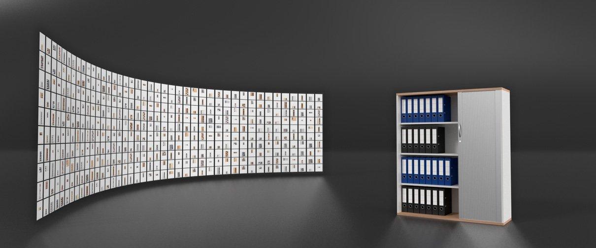 Eine 3D-Bilderwand aus Renderings der visualisierten Schränke
