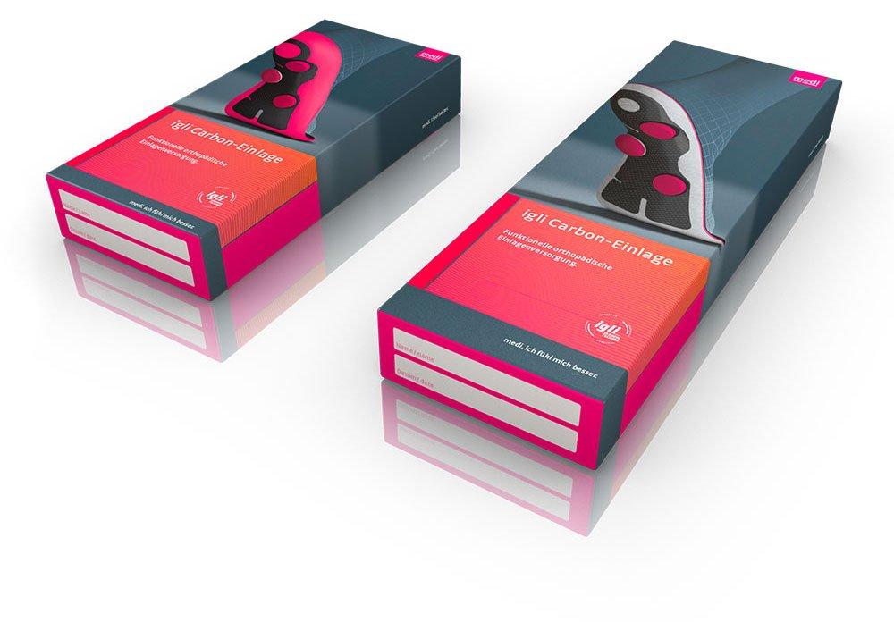 Produktverpackung für die Einlagen der Firma medi in 3D