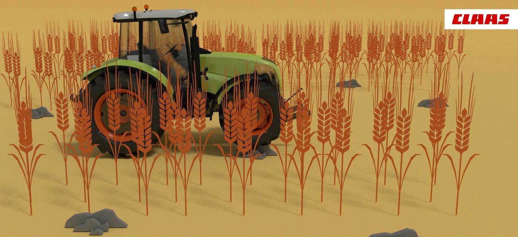 Claas Traktor im Weizenfeld - BIld aus dem Animations-Clip