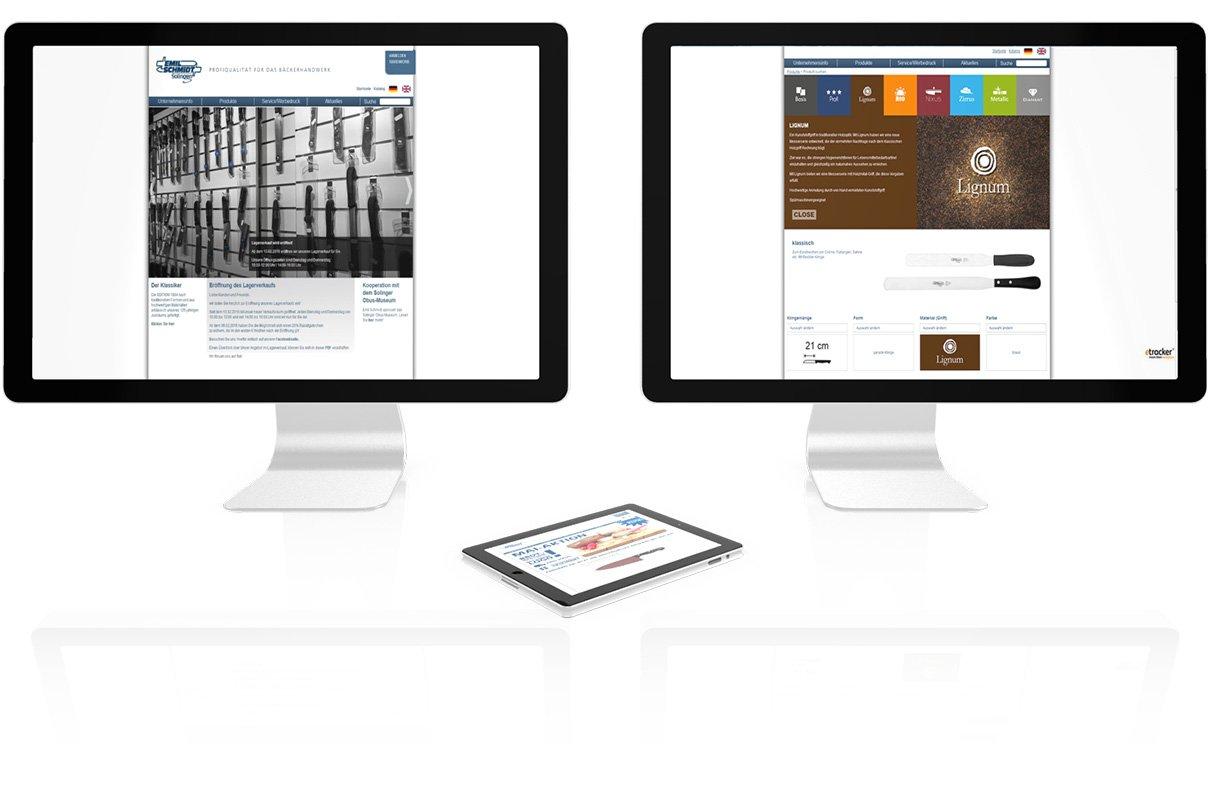 Screenshots der Webseite zur Serieneinführung von Emil Schmidt