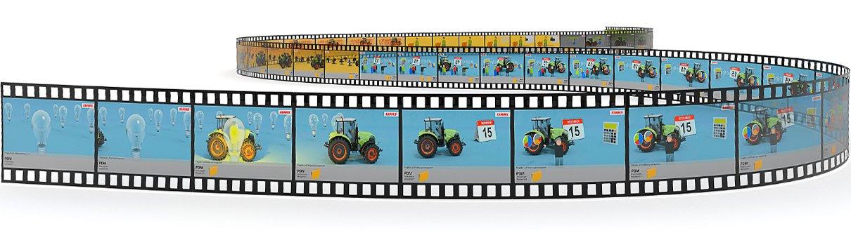 Das Bild zeigt die eine Filmrolle mit Motiven aus dem Claas-Clip
