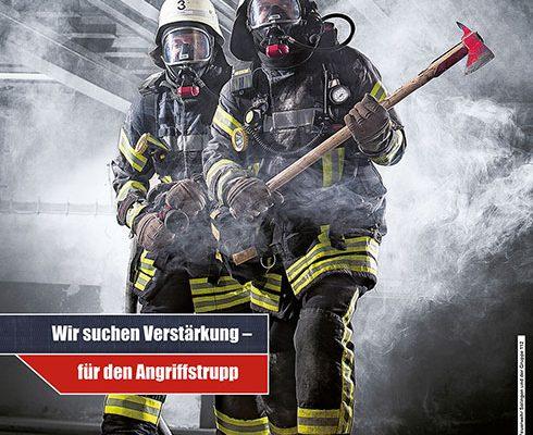 Plakat der Feuerwehr Werbekampagne der Stadt Solingen Gruppe 112