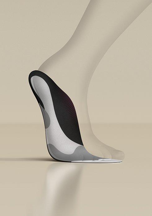 Darstellung zeigt eine Einlegesohle von medi an einem 3D Fuß