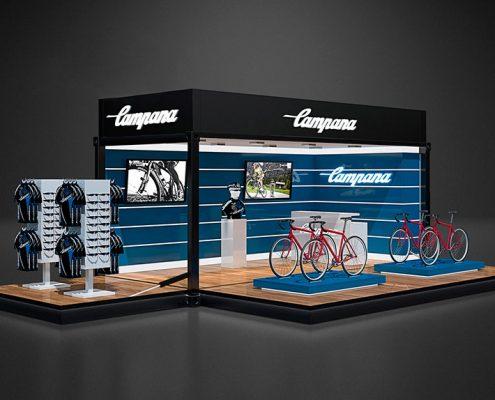 Produktvisualisierung Radsport Messestand für Contain:U 3D-Rendering