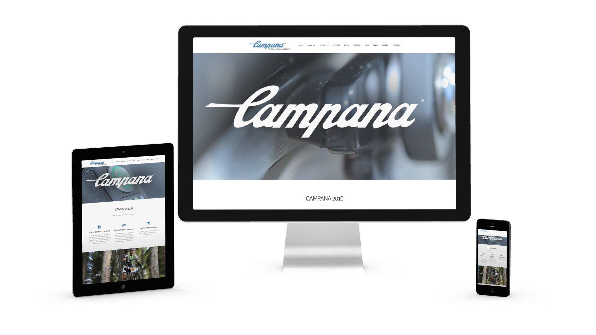 Campana Webseite Responsive Design auf drei Geräten